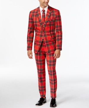 OppoSuits Slim-Fit Red Plaid Suit and Tie $89.99 AT vintagedancer.com