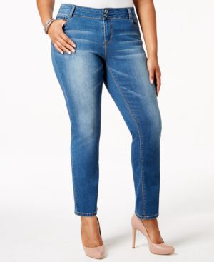 Rocks & Indigo Plus Size Straight-Leg Jeans, Medium Blue Wash