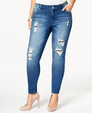 Rocks & Indigo Plus Size Ripped Skinny Jeans, Medium Blue Wash