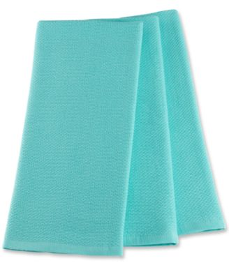 Martha Stewart Collection Pique Kitchen Towels Set of 3, Aqua