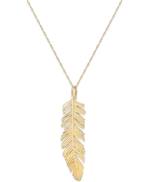 Feather Pendant Necklace in 14k Gold