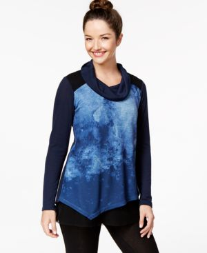 Style & Co. Printed Cowl-Neck Top