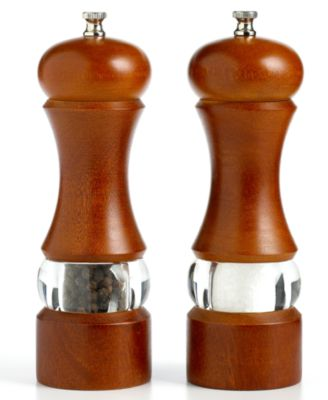 "Martha Stewart Collection 7.5"" Walnut Acrylic Salt and Pepper Mill"