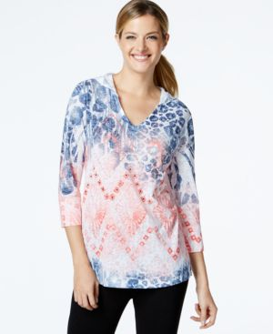 Style & Co. Sport Embellished Printed Hoodie, Only at Macy's