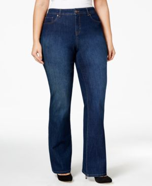 Style & Co. Plus Size Tummy-Control Rhinestone Back Pocket Bootcut Jeans, Only at Macy's