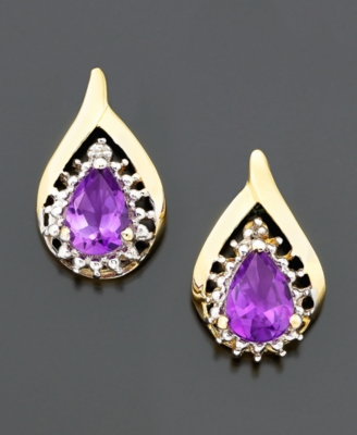 14k Gold Amethyst and Diamond Accent Earring