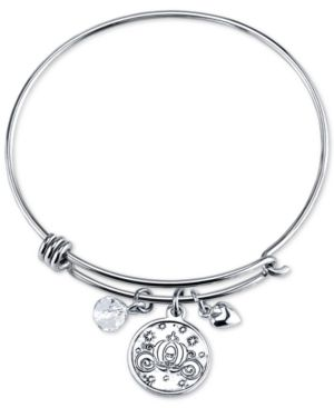 Cinderella Crystal Charm Bracelet in Stainless Steel with Silver-plated Charms