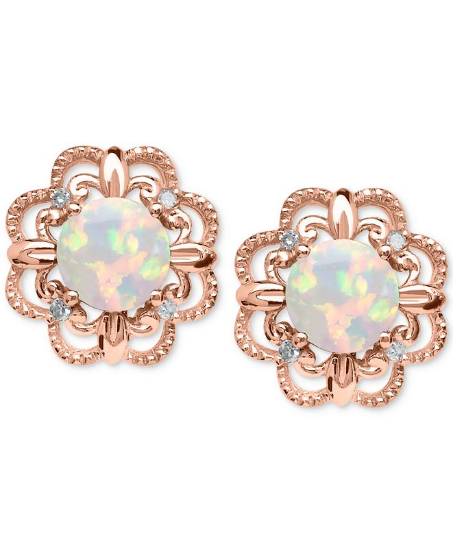 Macy's Opal (5/8 ct. t.w.) and Diamond Accent Earrings in 14k Rose Gold