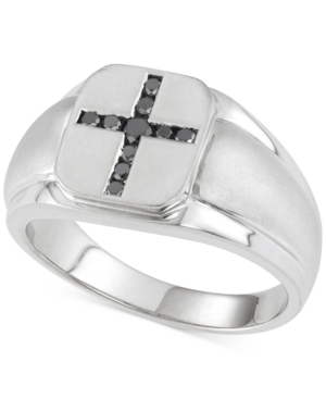 Men's Black Diamond Cross Ring (1/4 ct. t.w.) in Sterling Silver