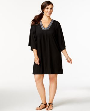 Dotti Plus Size Bead-Trim Cover-Up Women's Swimsuit