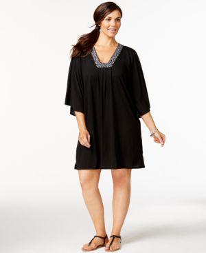 Dotti Plus Size Bead-Trim Cover-Up Women's Swimsuit