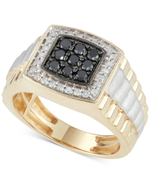 Men's Diamond and Black Diamond Ring (3/4 ct. t.w.) in 10k Gold and White Gold