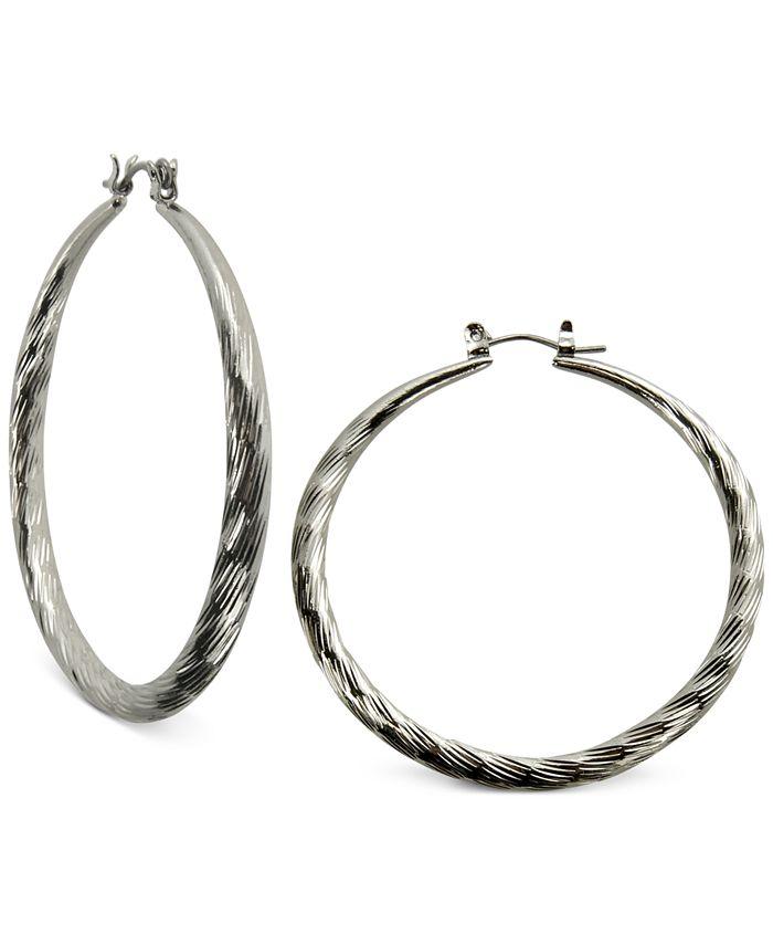 GUESS - Silver-Tone Textured Hoop Earrings