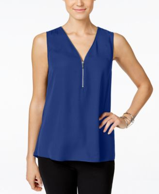 Image of INC International Concepts Zip-Front Knit-Back Top, Only at Macy's
