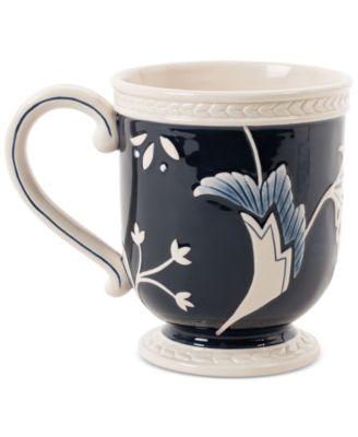 Fitz and Floyd Stoneware Bristol Indigo Floral Mug
