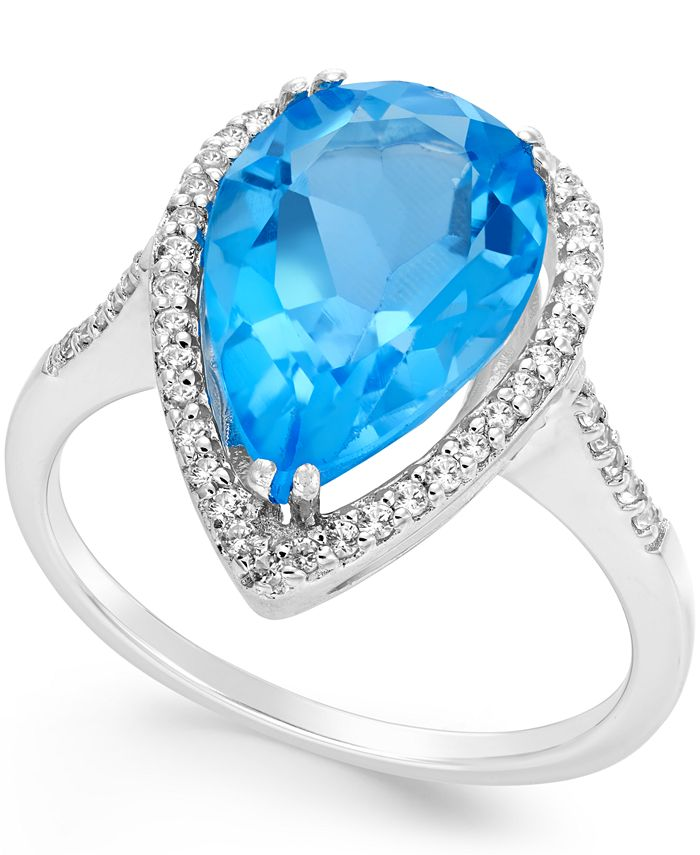 Macy's - Blue and White Topaz Halo Ring (5 ct. t.w.) in Sterling Silver