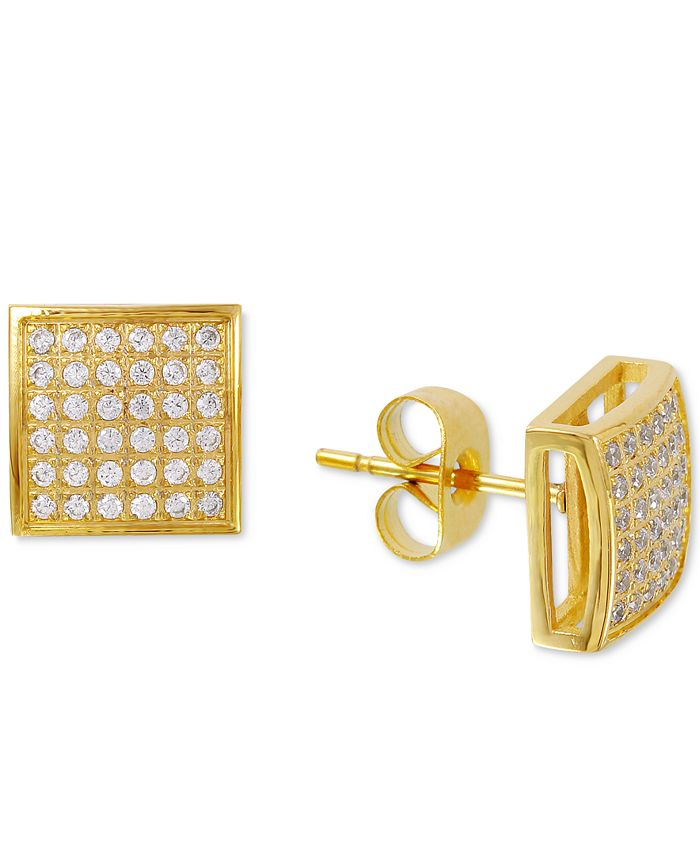 Macy's - Men's Diamond Stud Earrings (3/8 ct. t.w.) in Yellow IP-Plated Stainless Steel