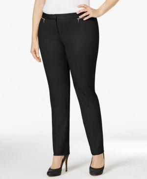 Alfani Plus Size Zip-Trim Skinny Pants, Only at Macy's
