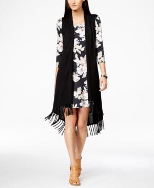 Karen Kane Long Fringe Sweater Vest $53.40 AT vintagedancer.com