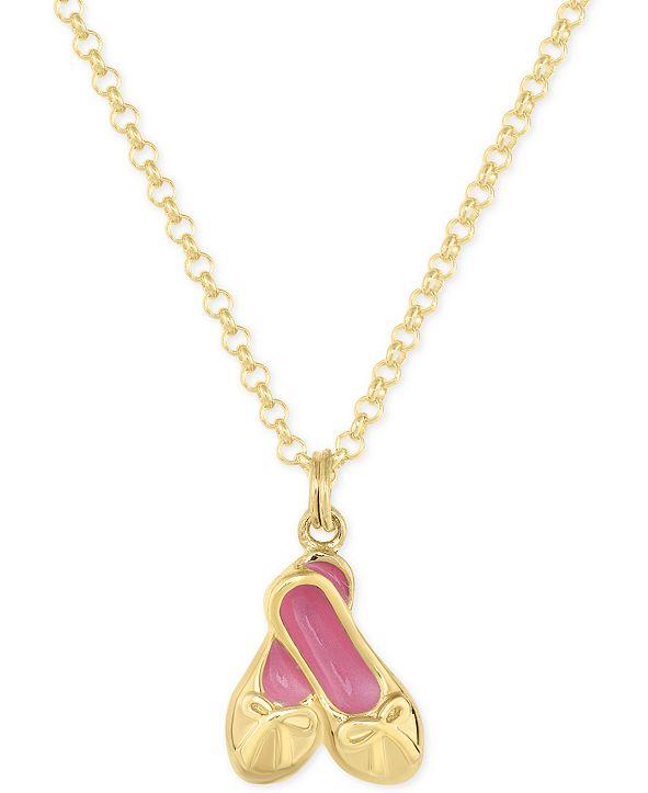Macy's Children's Enamel Ballerina Slipper Pendant Necklace in 18k Gold over Sterling Silver
