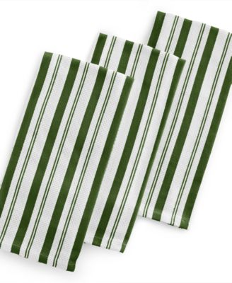 Martha Stewart Collection Set of 3 Basket Weave Green-Striped Kitchen Towels, Only at Macy's