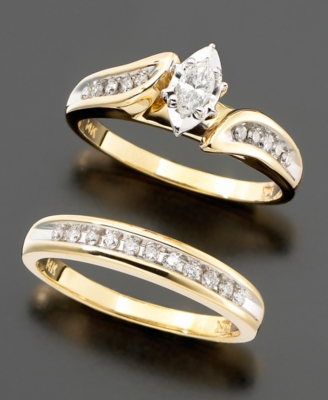 14k Gold Diamond (3/8 ct. t.w.) 2-Piece Bridal Set
