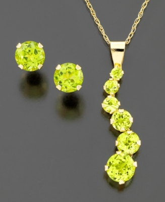 14k Gold Peridot Journey Pendant Set (1-1/5 ct. t.w.)