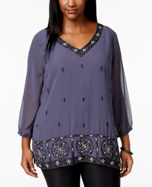 American Rag Plus Size Embellished V-Neck Blouse Only at Macys $52.99 AT vintagedancer.com