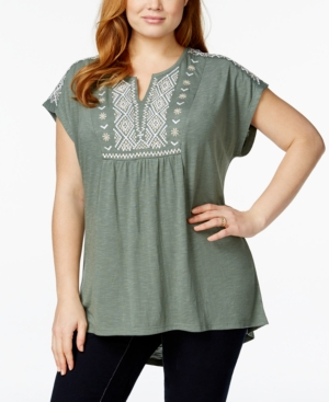 Style & Co. Plus Size Embroidered Split-Neck Top, Only at Macy's