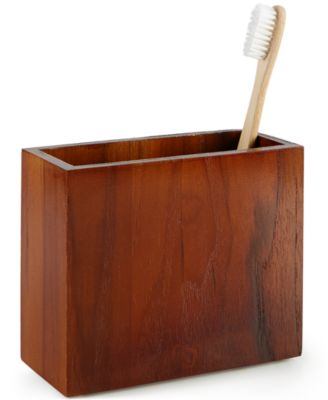Hotel Collection Teak Toothbrush Holder, Only at Macy's