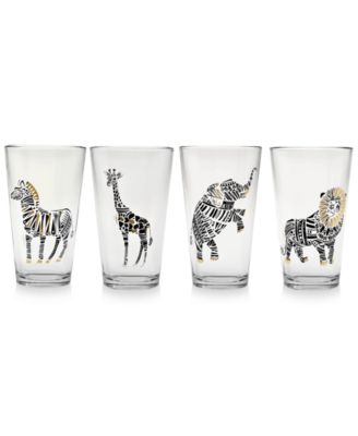 Safari Friends Gold 22k Highball Glasses, Set of 4