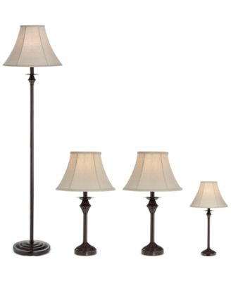 Pacific Coast Traditional Set of 4 Lamps (2 Table Lamps, 1 Mini Table Lamp, 1 Floor Lamp), Only at Macy's