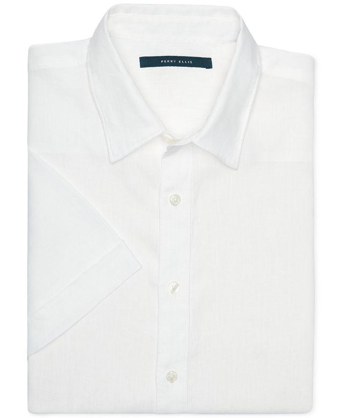 Perry Ellis - Chambray Linen Short-Sleeve Button-Front Shirt