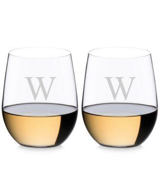 O Monogram Collection 2-Pc. Block Letter Chardonnay Stemless Wine Glasses