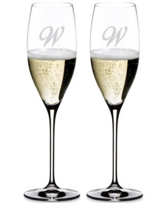 Riedel Vinum Monogram Collection 2-Pc. Script Letter Cuvee Prestige Wine Glasses