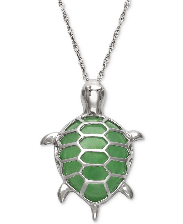 Macy's - Dyed Jade  Turtle Pendant Necklace in Sterling Silver
