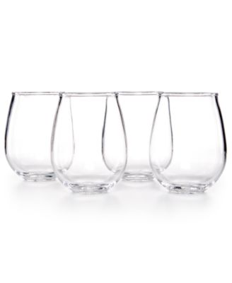 Home Design Studio 4-Pc. Clear Stemless Wine Glasses Set, Only at Macy's