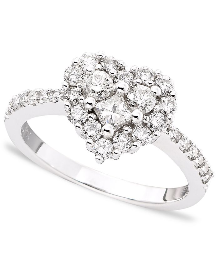 EFFY Collection - Diamond Heart Ring (9/10 ct. t.w.) in 14k White Gold or Rose Gold