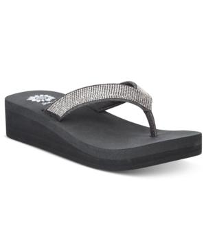 Yellow Box Cliff Rhinestone Wedge Thong Sandals Women's Shoes