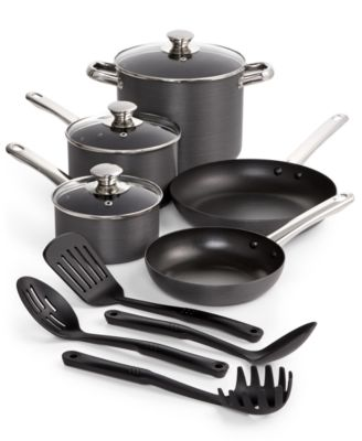 Tools of the Trade Stainless Steel trimmed Hard-Anodized 12-Piece Nonstick Cookware Set, Only at Macy's