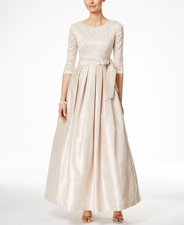 Jessica Howard - Three-Quarter-Sleeve Lace & Satin Gown