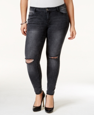 Rocks & Indigo Trendy Plus Size Ripped Grey Wash Skinny Jeans