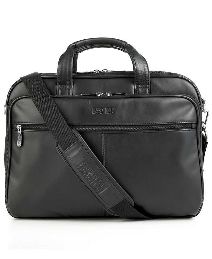 Kenneth Cole Reaction - Kenneth Cole Leather Double Gusset Top Zip Portfolio