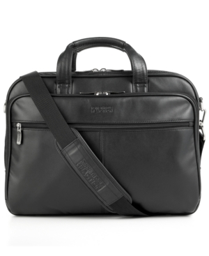 Kenneth Cole Reaction Laptop Bag, Leather Double Gusset Laptop Friendly