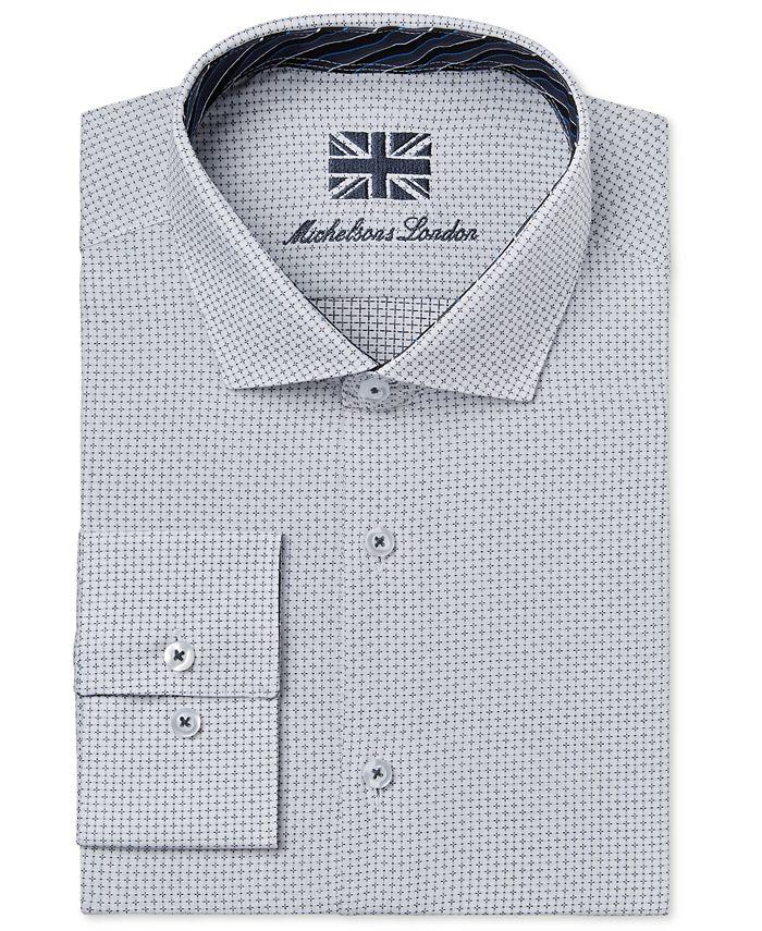 Michelsons - Men's Slim-Fit White Allover Dobby Dress Shirt