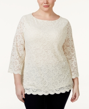 Charter Club Plus Size Three-Quarter-Sleeve Lace Blouse Only at Macys $39.99 AT vintagedancer.com