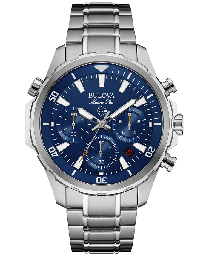 Bulova - Men's Chronograph Marine Star Stainless Steel Bracelet Watch 43mm 96B256