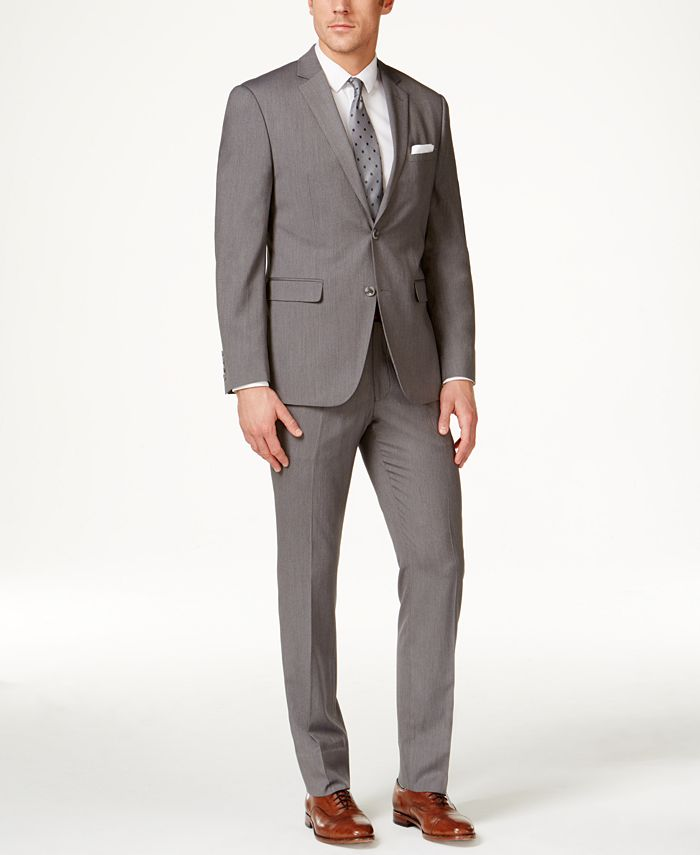 Perry Ellis - Men's Gray Pinstripe Slim-Fit Suit