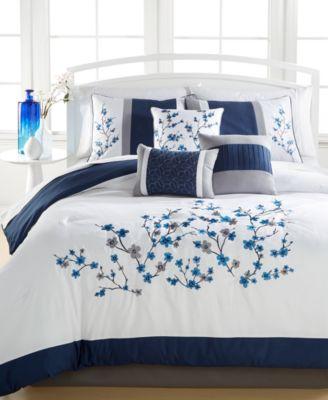 Kira Navy 7-Piece Queen Comforter Set