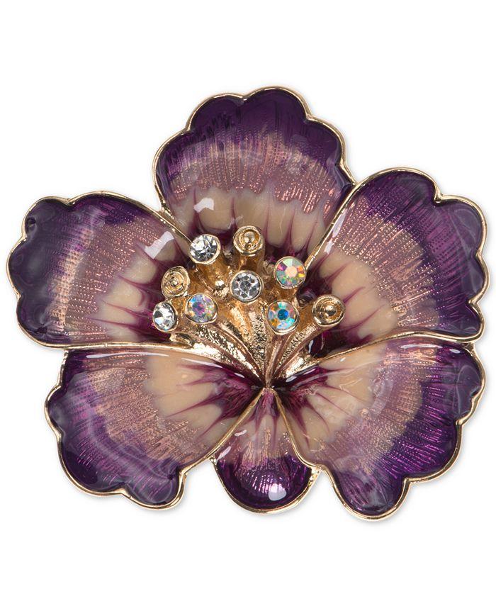 Anne Klein - Gold-Tone Purple Crystal Flower Pin